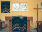 The Green Season-Altar & Wall Hangings on display at Holy Cross